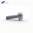 Cross recess full threads machine screws with spring washers